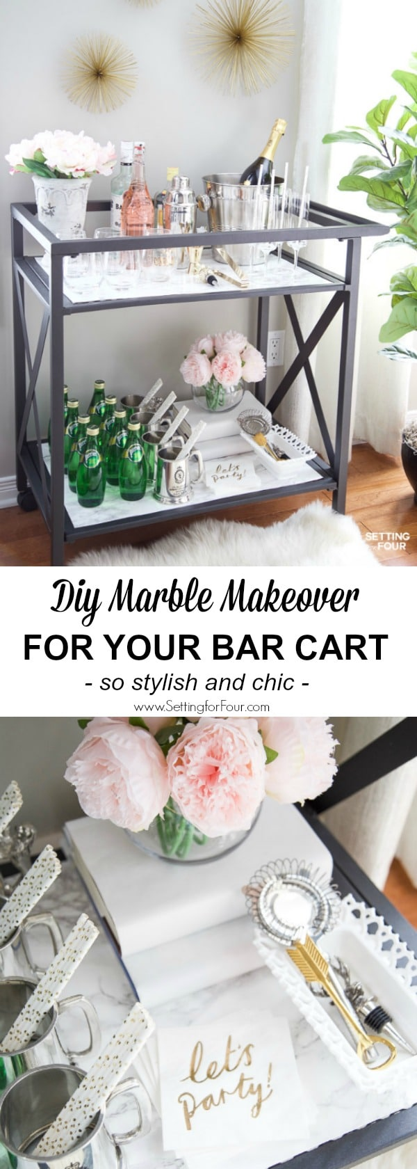 See This Quick And Easy DIY Marble Bar Cart Top And Shelf Tutorial To Give  Your