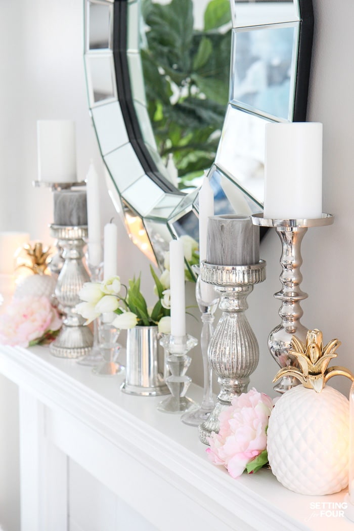 5 Interior Design Tricks To Brighten a Dark Room! These designer tricks will make your room feel bigger too! #interiordecor #interiordecor #mirrors #livingroom #mantel #pink