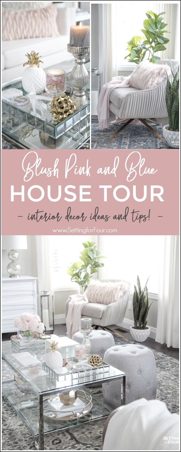 See my Blush Pink and Blue House Tour - interior decor ideas and tips!