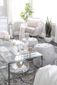 Winter Decor Ideas for the Living Room - pink, white and gray.