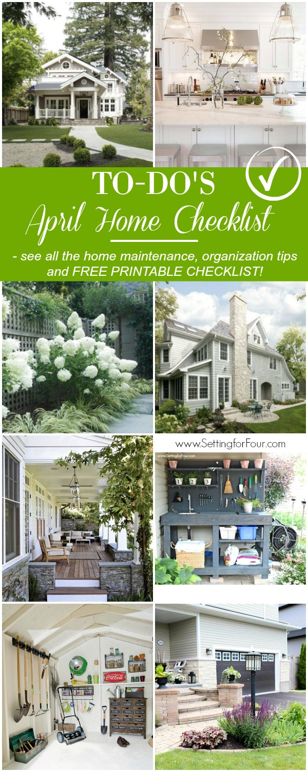 See this handy April Home Checklist and home improvement tips to plan for Spring and Summer. Includes a FREE TO-DO CHECKLIST that you can print off. Helpful tips on how to enjoy the beginning of Spring, home maintenance checks to do, Spring organization & cleaning tips and more! #homedecor #gardening #maintenance #yard #cleaning #checklist