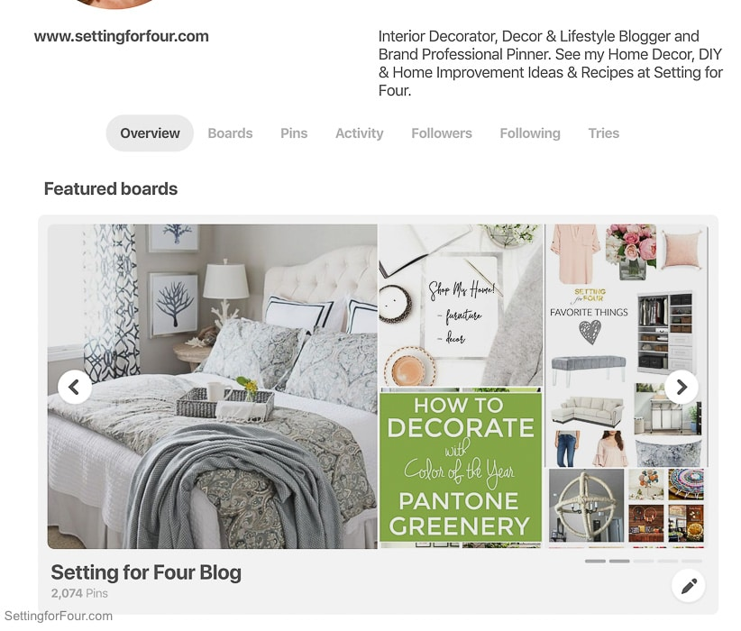 Read All about the new menu tabs in your NEW PInterest profile.