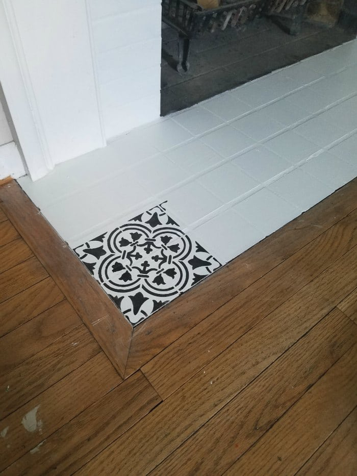How to Paint and Stencil Fireplace Tile