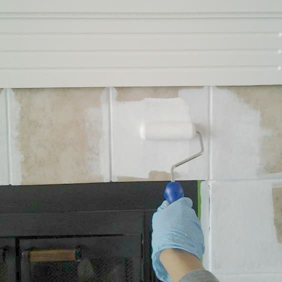 Painting Tile Fireplace Facelift