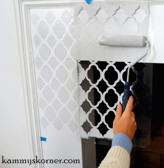 Painted and Stenciled Tile Fireplace Makeover #diy #paint #fireplace #tile #homedecor
