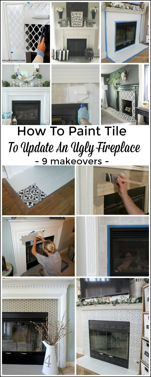 Painting Fireplace Tile -  9 Ways to Update Your Fireplace #diy #tutorial #homeimprovement #paint #tile #fireplace #white #elegant