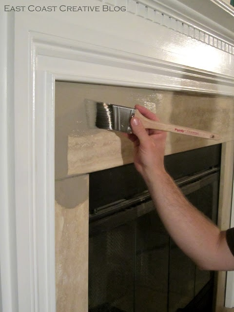 Painting Tile On Fireplace With Chalk Paint