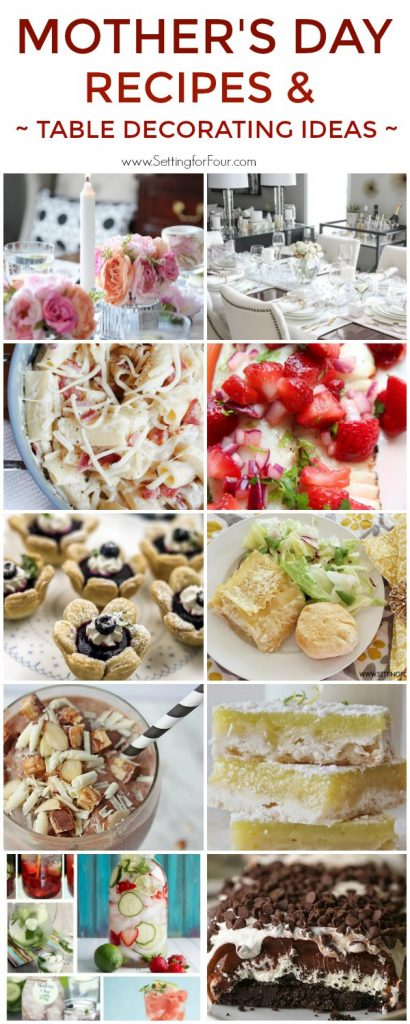 Mother's Day Menu Ideas, Recipes and Table Decorating Ideas.