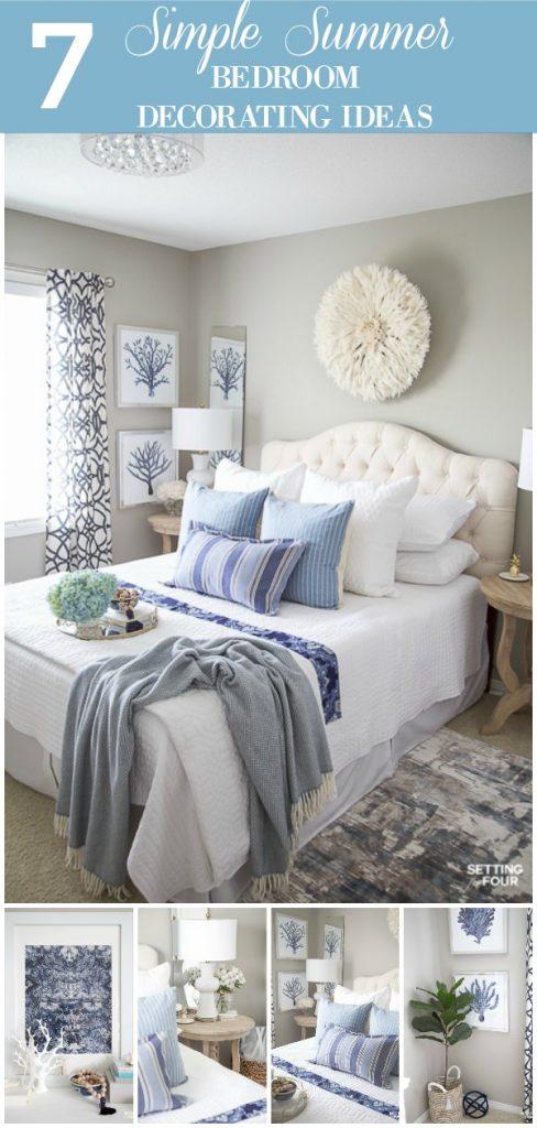 7 Simple Summer Bedroom Decorating Ideas. #summer #bedroom #furniture #decor #bedding
