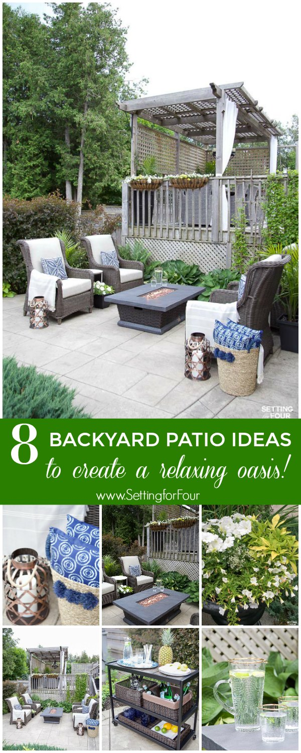 Outdoor Patio Ideas, Patio Furniture and Backyard Decor #outdoor #patio #firetable #backyard #decor #furniture
