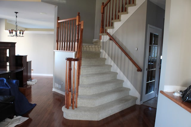 Remove carpeting on stairs and install hardwood.