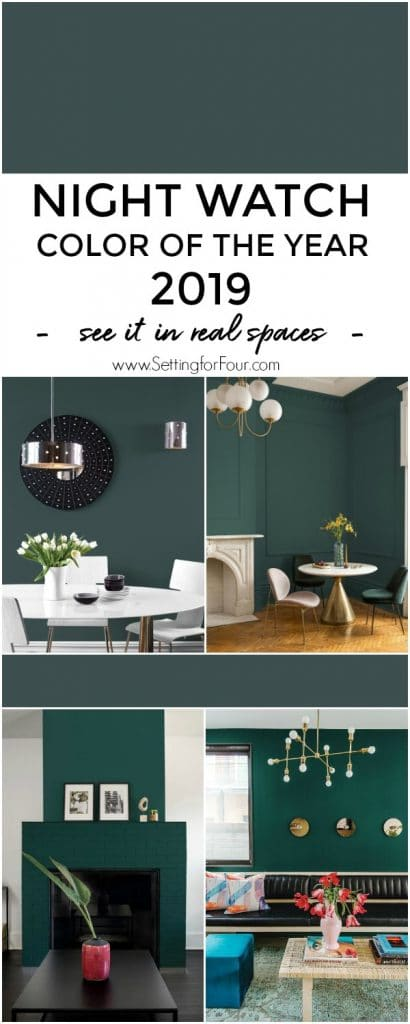 Night Watch Color Of The Year 2019 - a dark green paint color by PPG paints for interiors and exteriors. #painting #paint #color #paintcolor #decor