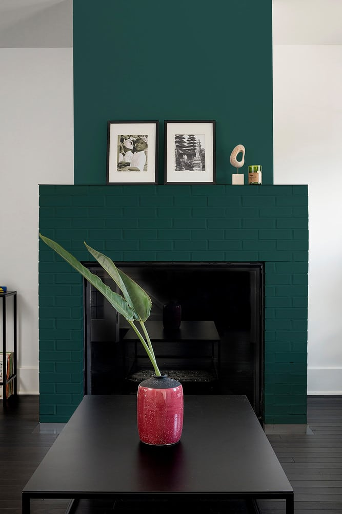 Night Watch Color Of The Year 2019 - a dark green fireplace paint color by PPG paints. #painting #paint #color #paintcolor #decor