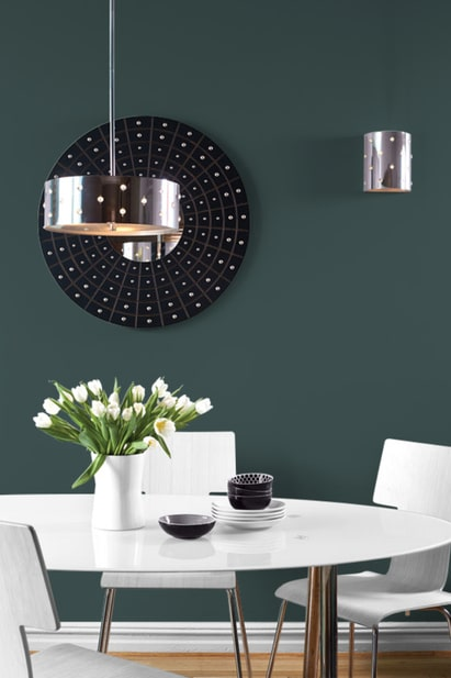Night Watch Color Of The Year 2019 - a dark green kitchen wall paint color by PPG paints. #painting #paint #color #paintcolor #decor
