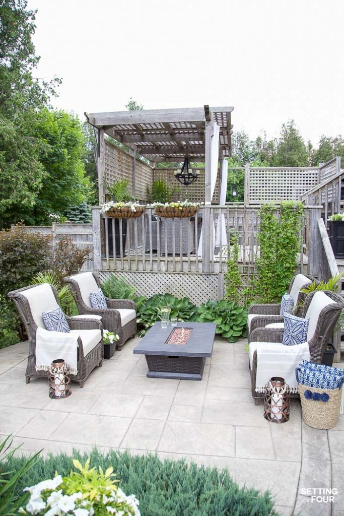 Outdoor Patio Ideas, Patio Furniture and Backyard Decor#outdoor #patio #firetable #backyard #decor #furniture