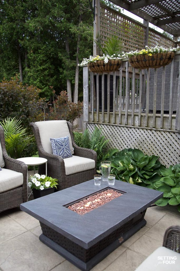 Ideas For Patio Furniture With Outdoor Patio Ideas Furniture And Backyard Decor outdoor patio firetable Setting