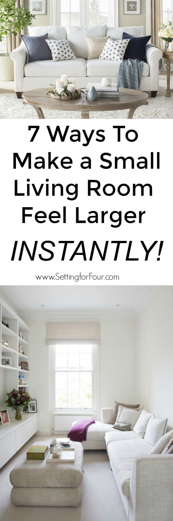 7 Ways To Make A Small Living Room Feel Larger Instantly! #small #livingroom #larger #bigger #decor #decorideas #decorations #interiordesign #design