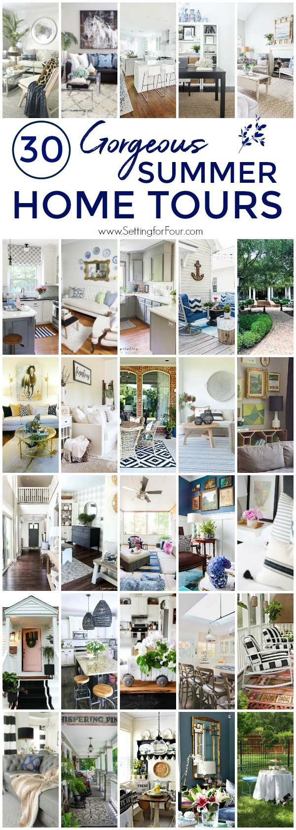See 30 Gorgeous Summer Home Tours & Summer Decor Ideas! You'll find lots of fun summer decorating inspiration for your home, indoors and outdoors. Go through all the tours and make a list of what you'd like to add to your home to-decorate wish list! #summer #decor #decorideas #hometour #interiordesign #homedecor