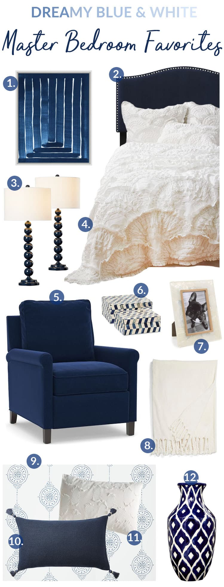 Dreamy Blue And White Master Bedroom Favorites - Setting for Four