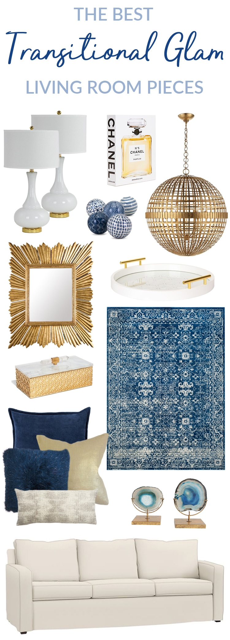 See the BEST Transitional Glam Living Room Pieces! These furniture, lighting, rug and wall accent pieces will update your decor instantly. If you love traditional meets contemporary style, metallics, gold, white and blue then these decor ideas are for you! #transitional #decor #decorideas #livingroom #glam