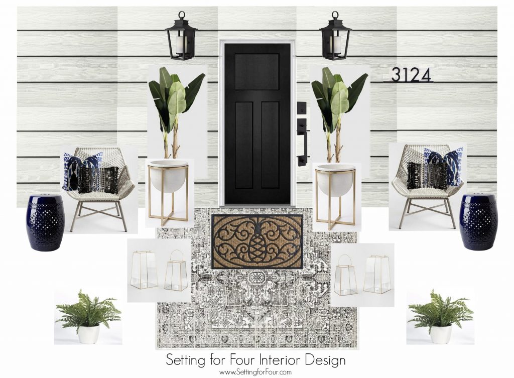 12 Curb Appeal Design Elements & Porch Decor Tips. Plus a FREE home exterior and porch design plan with shopping sources for the products! #curbappeal #decor #porch #exterior #moodboard #homeimprovement #design #siding #decorideas #houseexterior #housecolorschemes #JamesHardieInspired