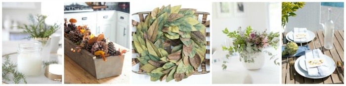 DIY decor ideas for Fall! Pine, Pumpkin, fall leaves, candle, wreath, floral arrangement, place card decor ideas. #fall #decor #pumpkin #leaves #diy #craft