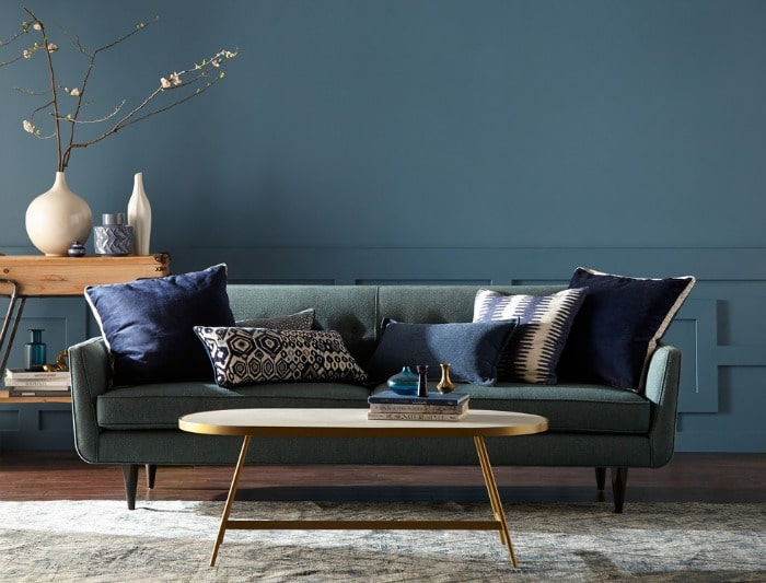 Blueprint Paint Color By Behr in a living room- Color Of The Year 2019 #blueprint #color #paint #trends #wallcolor #decor #design #homeimprovement