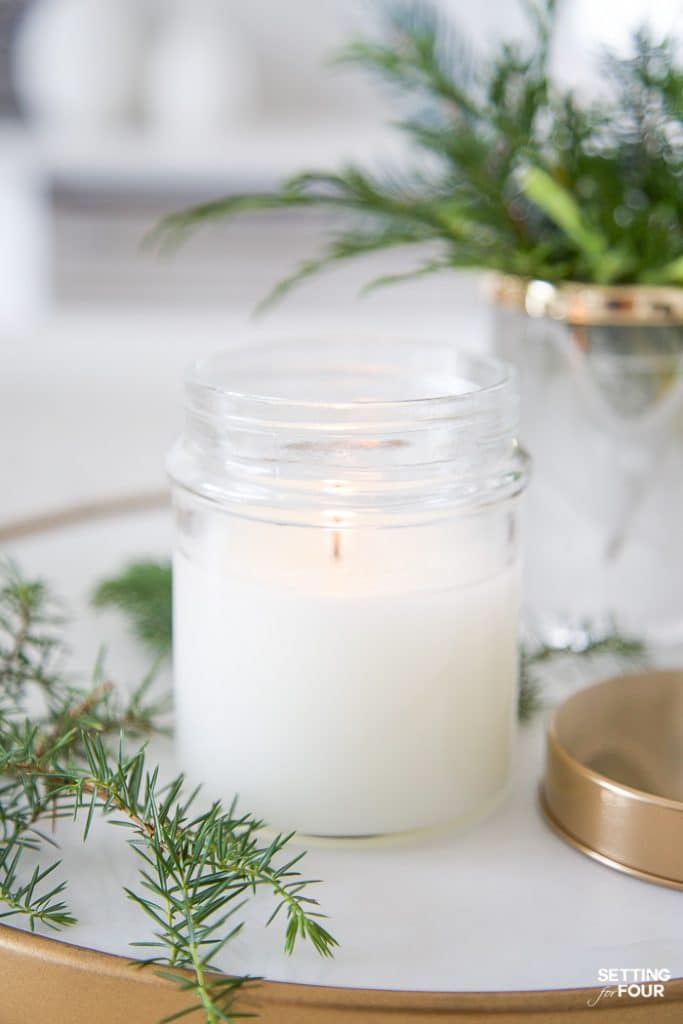 DIY Forest Pine Fragrance Candle in a jar #diy #tutorial #candle #pine #fragrance #oil #gift #decor #fall #christmas