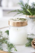 DIY Forest Pine Candle In A Jar – learn how to make pine scented candles for fall, Christmas or anytime! See how to make the painted gold lid too! This candle makes a great handmade gift idea! #diy #tutorial #candle #pine #fragrance #gift #decor #fall #christmas