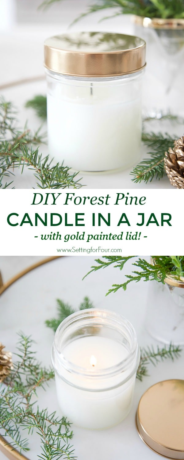DIY Forest Pine Candle in a jar with gold painted lid! #diy #tutorial #gold #paint #spraypaint #candle #pine #fragrance #gift #decor #fall #christmas #glam