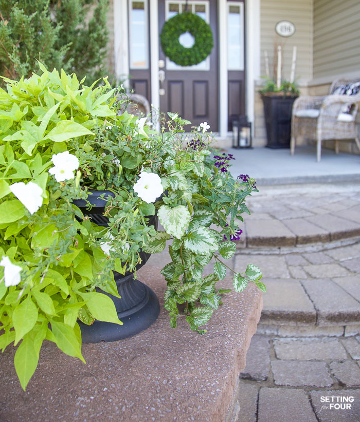Summer Front Porch Decor Ideas #summer #porch #urn #flowers #container #annuals