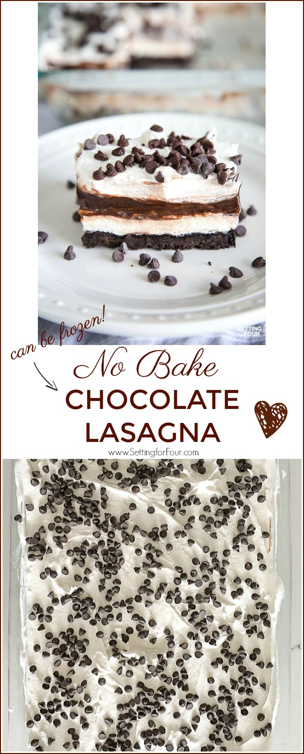 Easy Chocolate Lasagna - No Bake Dessert that can be frozen! #recipe #dessert #chocolate #makeahead #cheesecake #nobake #potluck #party #entertaining