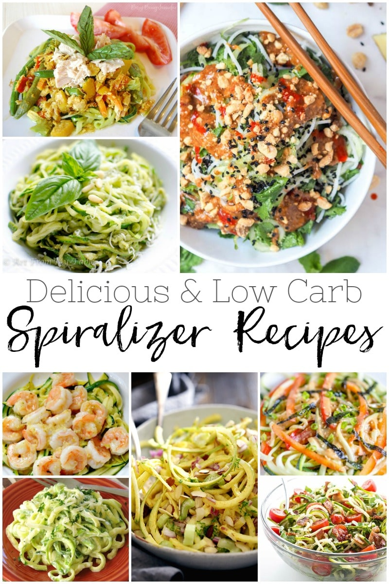 20 Delicious & Low Carb Spiralizer Recipes! #vegetables #dinner #food #recipes #spiralizer #lowcarb #healthy #zucchini