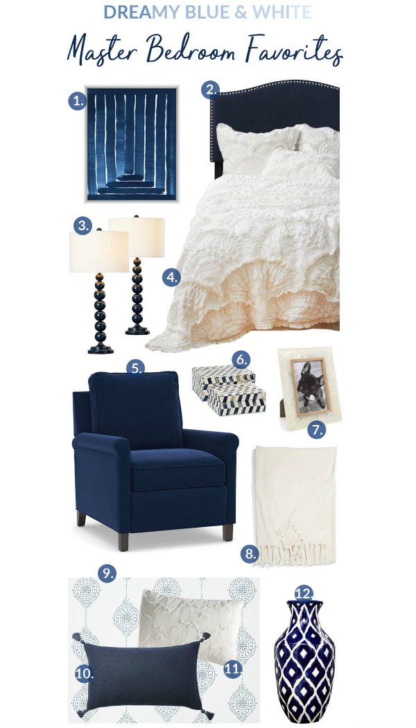 Dreamy Blue and White Master Bedroom Favorites. #decor #bedroom #blue #white #design #decorideas