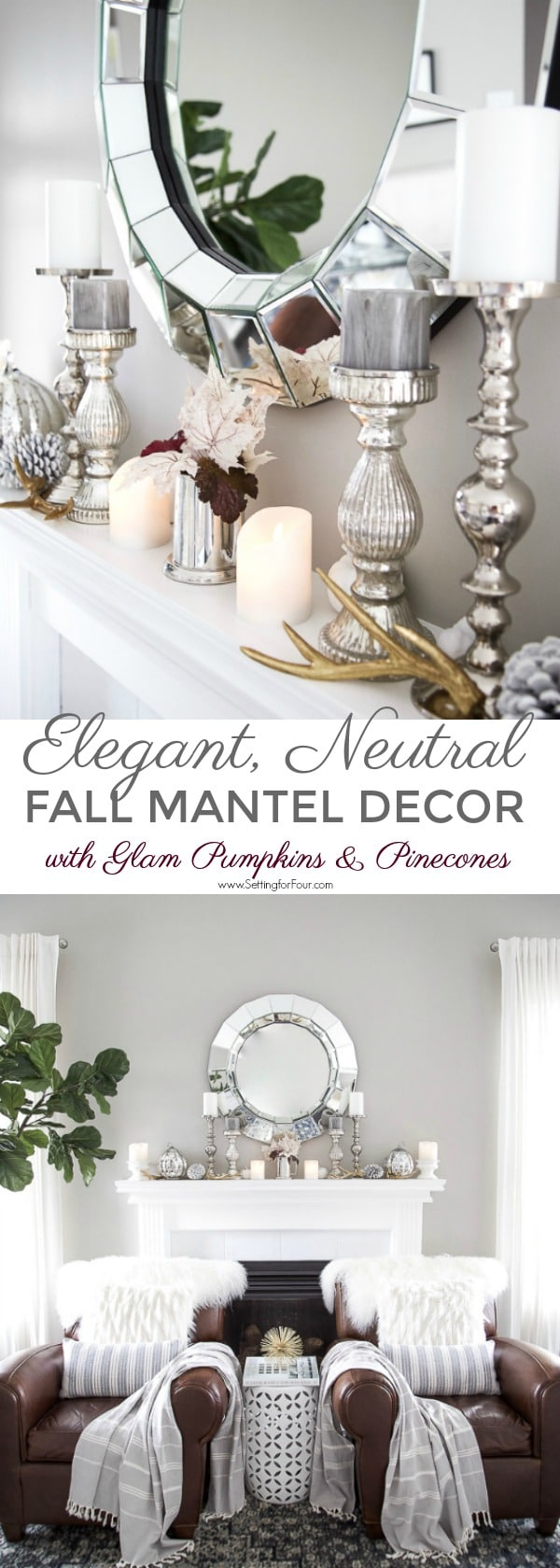 Elegant, Neutral Fall Mantel Decor Ideas with glam pumpkins & pinecones #fall #autumn #fireplace #mantel #decor #decorations #pumpkin #pinecones #leaves #candles #livingroom