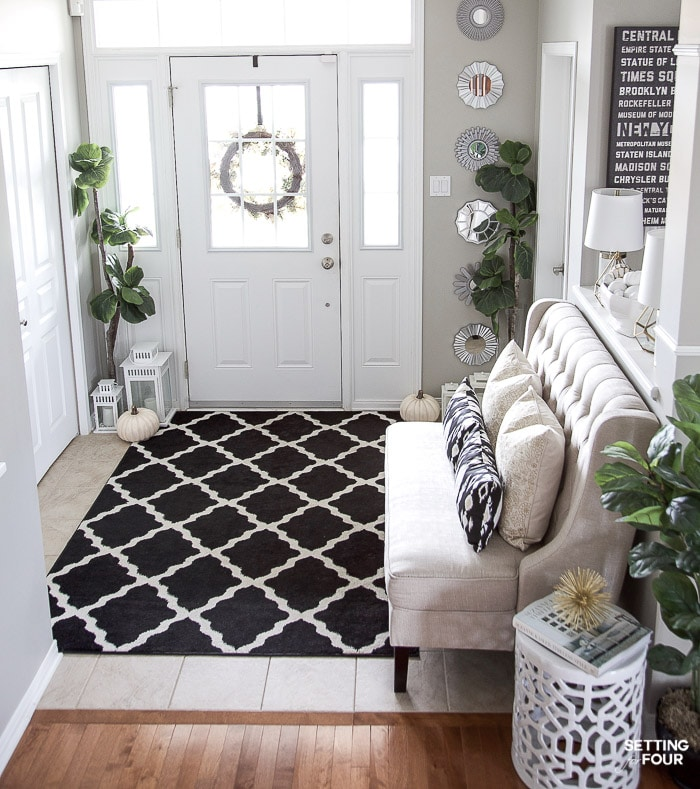 Elegant Foyer Decor Ideas: Neutral Glam Fall Entryway And Family Room