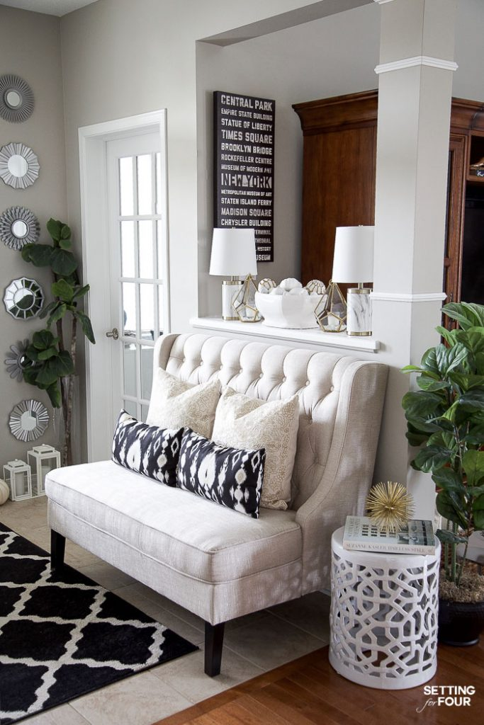 Neutral Glam Fall Entryway And Family Room Setting For Four