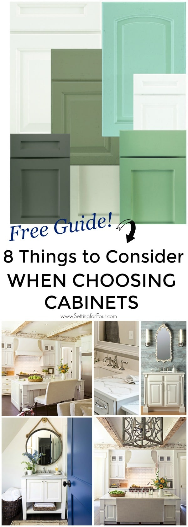 8 IMPORTANT things to Consider when choosing cabinets for Kitchens and Bathrooms. #ad Plus a Free Design Guide! #cabinet #kitchen #bathroom #laundry #guide #free #decor #design #renovation #newhome #homeimprovement #wellborncabinet