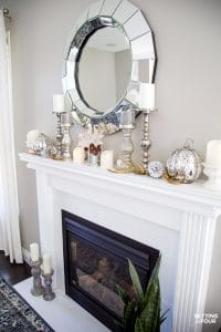 Elegant Neutral Fall Mantel With Glam Pumpkins and Pinecones