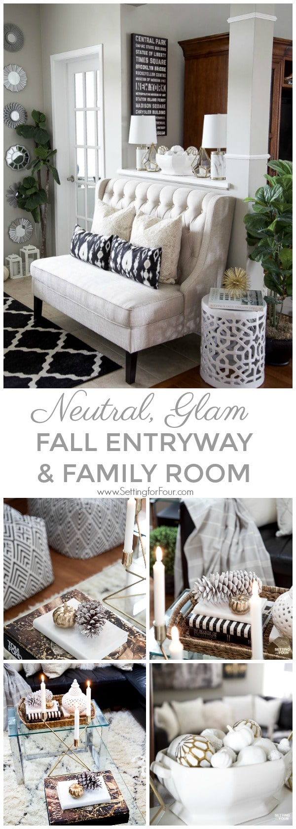 Neutral, Glam Entryway and Family Room Decor Ideas. Furniture, lighting, area rugs, pillows, fall decor and more!