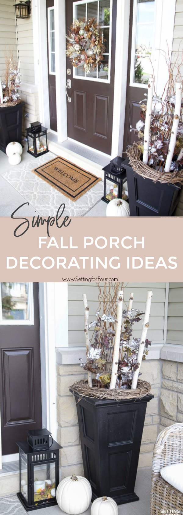 Simple Fall Porch Decorating Ideas With Big Impact! #container #urn #birch #simple #fall #porch #decor #pumpkins #leaves #mums