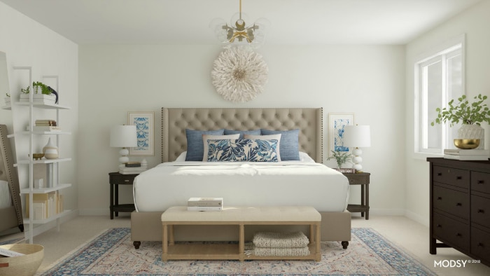 See 9 gorgeous master bedroom design ideas with the virtual 3-D design service Modsy! See pictures of all the beautiful designs and which one I picked! #bedroom #makeover #interiordesign #decor #decorideas #virtualdesign #edesign