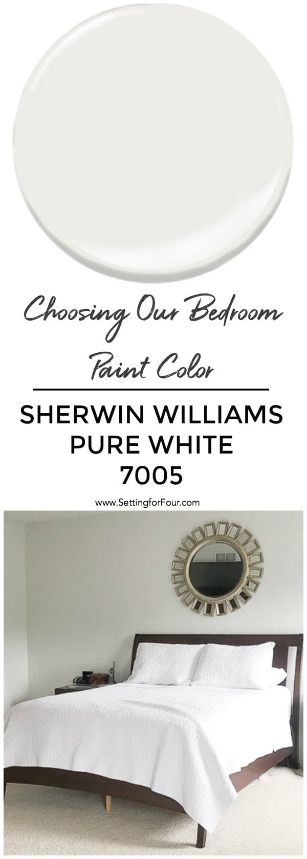 How to choose a bedroom paint color. See why we chose Sherwin Williams Pure White! #paint #color #painting #decor #bedroom #undertones #wall
