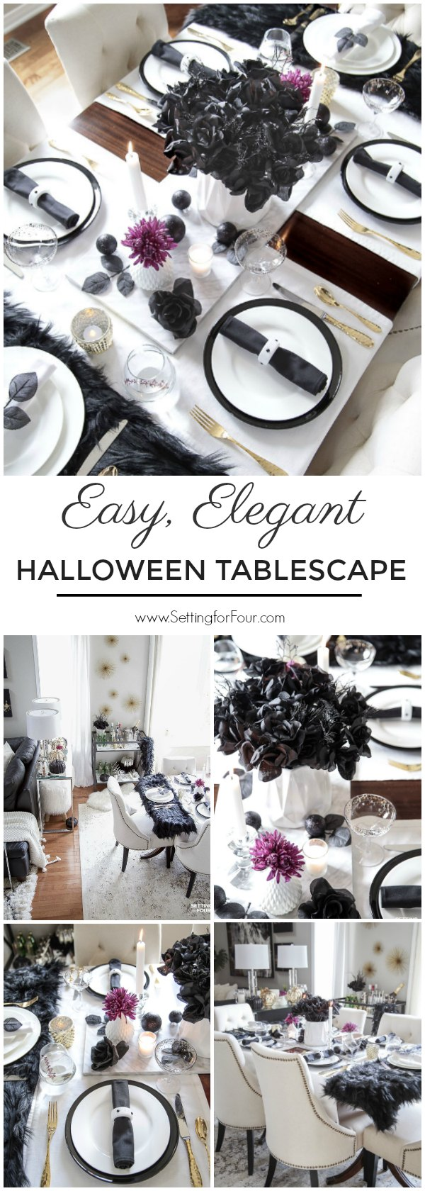 Easy Elegant Halloween Table Decorations & Centerpiece Idea. Spooky black rose centerpiece.#halloween #decor #spooky #centerpiece #table #entertaining #party #elegant #easy
