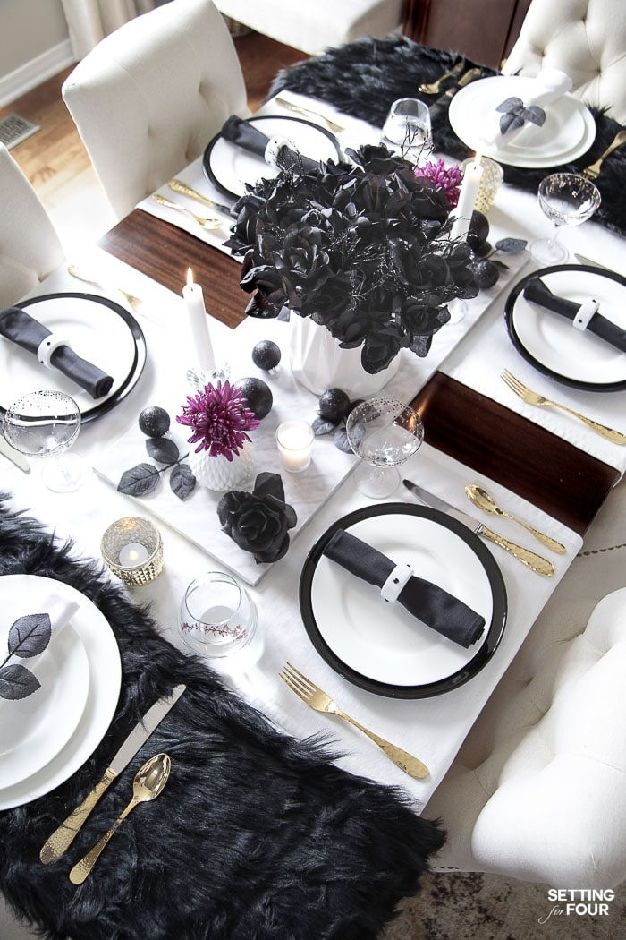 Easy Elegant Halloween Table Decorations & Centerpiece Idea. DIY Halloween black plates. #halloween #decor #diy #centerpiece #table #entertaining #party #elegant