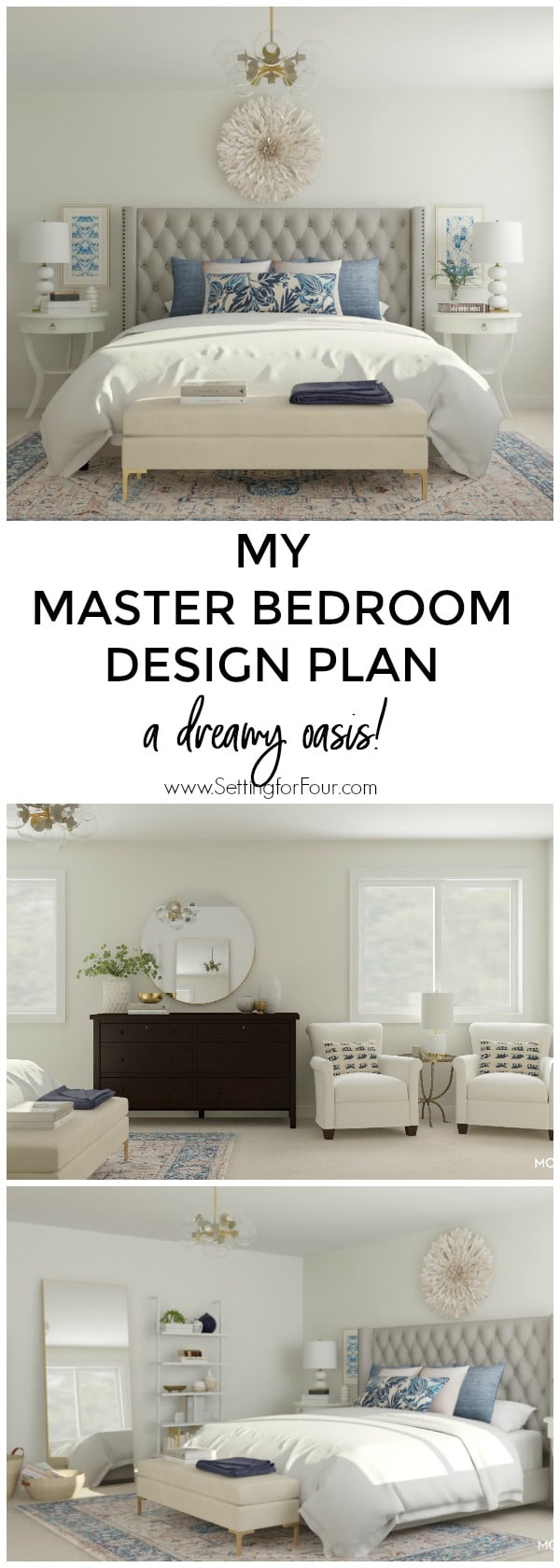 My master bedroom design plan: a dreamy oasis for watching TV and reading! #bedroom #makoever #design #interiordesign #TV #readingnook