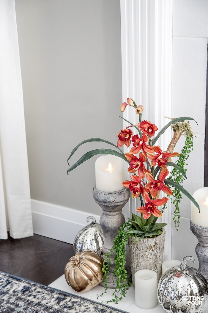 How to Style & Decorate With Artificial Flowers & Plants! Adding these natural looking faux plants and flowers will give your home a cozy, welcoming feel! #decor #decorideas #decorinspiration #fall #falldecor #faux #plants #flowers
