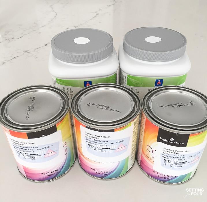 Test different paint colors in a room using sample tester pots of paint. #diy #painint #color #walls #sample