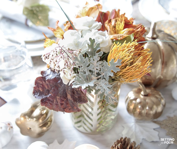 Easy Fall Floral Arrangements using grocery store flowers! #diy #floral #arrangements #easy #fall #thanksgiving #wedding #centerpiece #decor