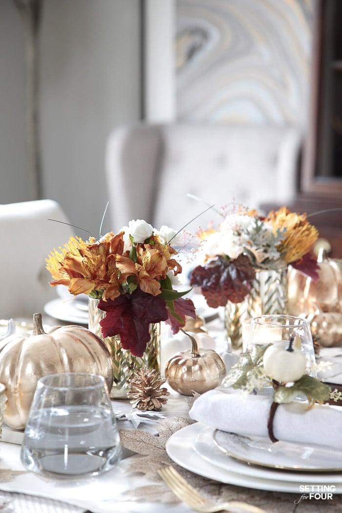 Easy Fall Flower Arrangements using grocery store flowers! #diy #flowers #flowerarrangements #easy #fall #thanksgiving #wedding #centerpiece #decor